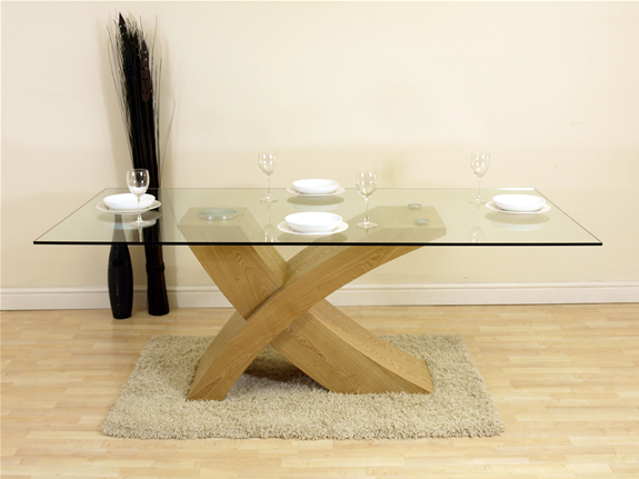 VALENCIA LARGE OAK GLASS & WOOD DINING ROOM TABLE NEW