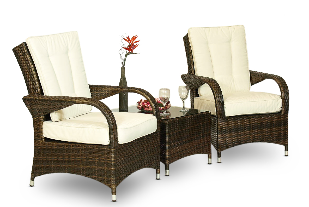 ARIZONA RATTAN 2 x ARM CHAIR & TABLE OUTDOOR LOUNGE SET ...