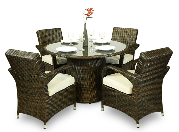 Arizona Rattan Wicker Garden Furniture Set Outdoor Patio Dining Table Chairs