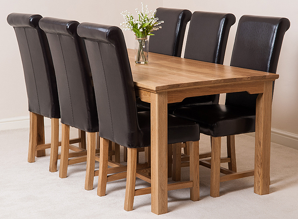 180cm dining table 6 brown leather washington dining chairs ebay