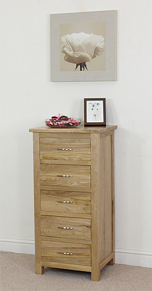 Boston Solid OAK Tallboy 5 Drawer Chest OF Drawers Tall BOY Bedroom Furniture