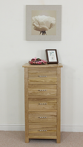 solid oak tallboy 5 drawer chest of drawers tall boy bedroom furniture