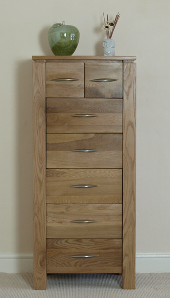 cambridge solid oak 7 drawer tall chest tallboy bedroom furniture