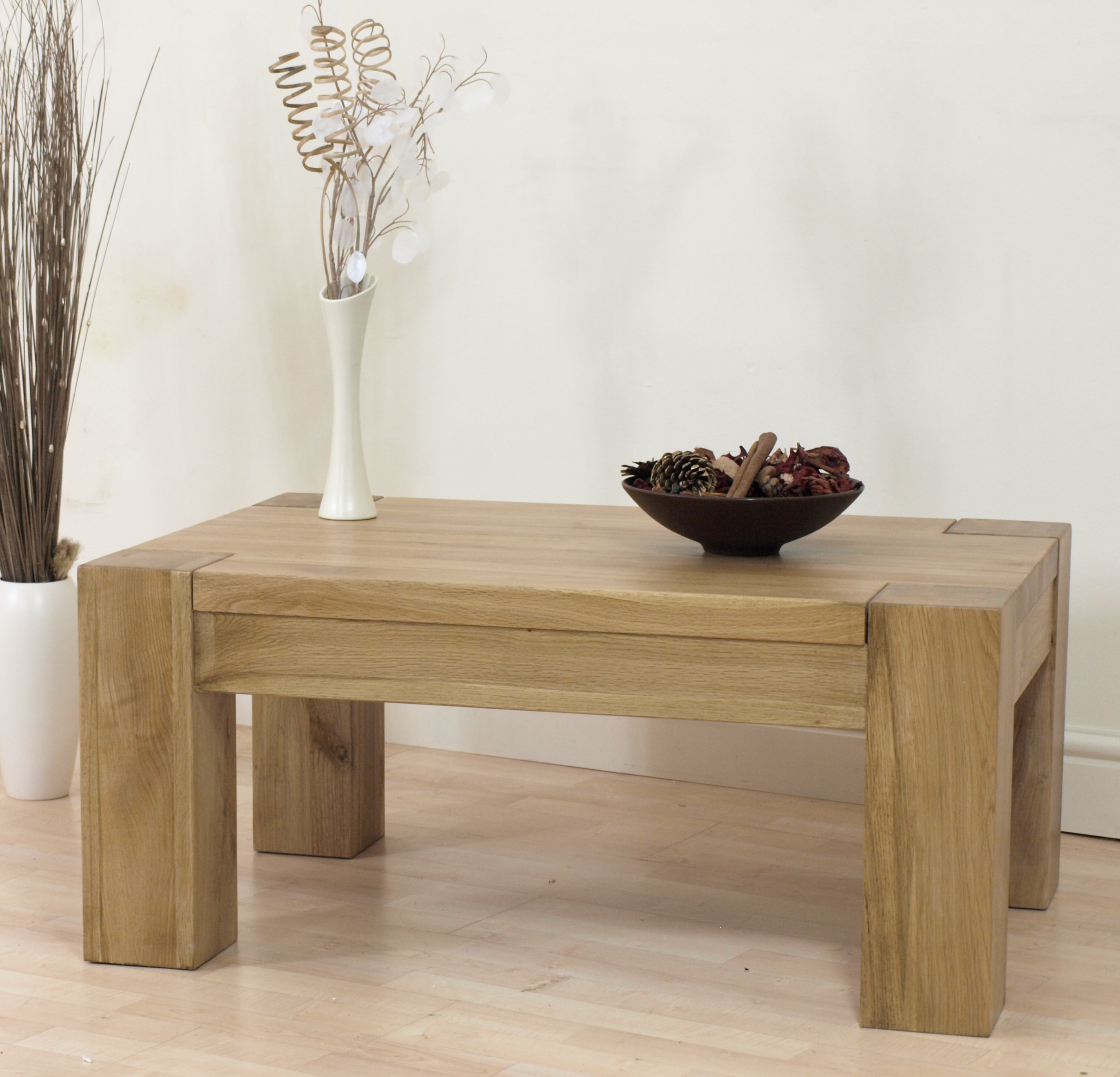 Kuba Chunky Solid Oak Coffee Table New Living Furniture Ebay