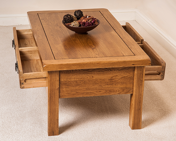 cotswold rustic solid oak 4 drawer coffee table furniture