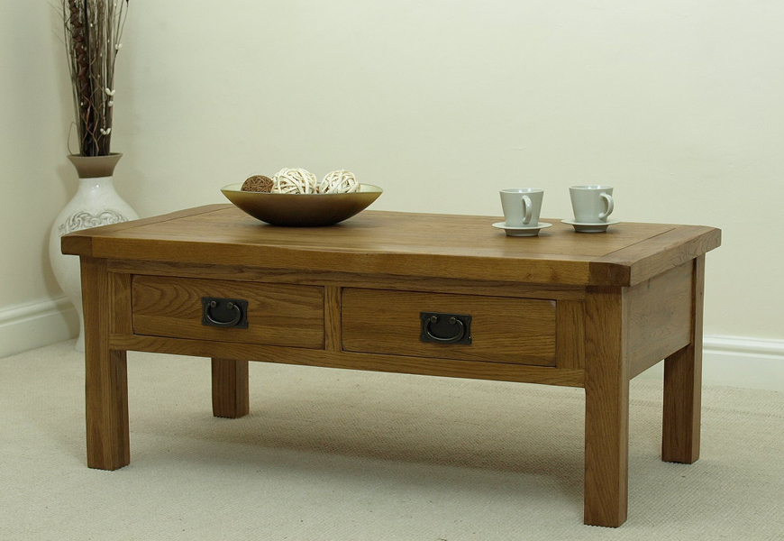cotswold rustic solid oak 2 drawer coffee table furniture