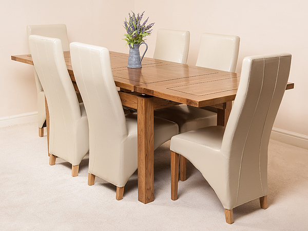 4ft 7 x 3ft extending dining table 6 cream leather chairs ebay