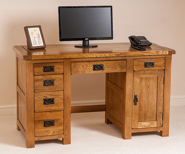 about COTSWOLD RUSTIC SOLID OAK PC COMPUTER HOME OFFICE DESK FURNITURE