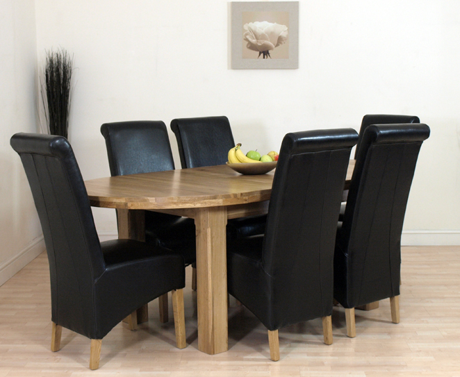 EDMONTON SOLID OAK EXTENDING DINING TABLE AND 6 CHAIRS : ovalextender6blackL1 from ebay.co.uk size 662 x 543 jpeg 270kB