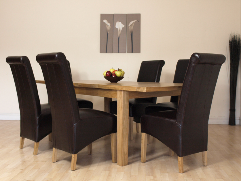 details about extendable solid oak dining table and 6 brown chairs