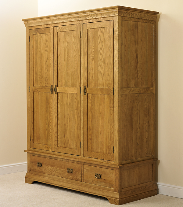 oak large triple wardrobe bedroom furniture new with drawers ebay