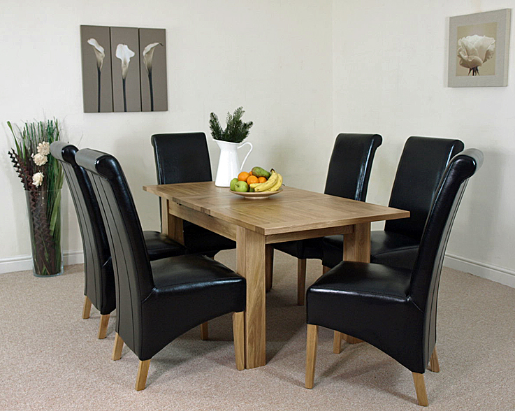 HAMPTON EXTENDING SOLID OAK DINING TABLE AND 6 BLACK LEATHER CHAIRS EBay