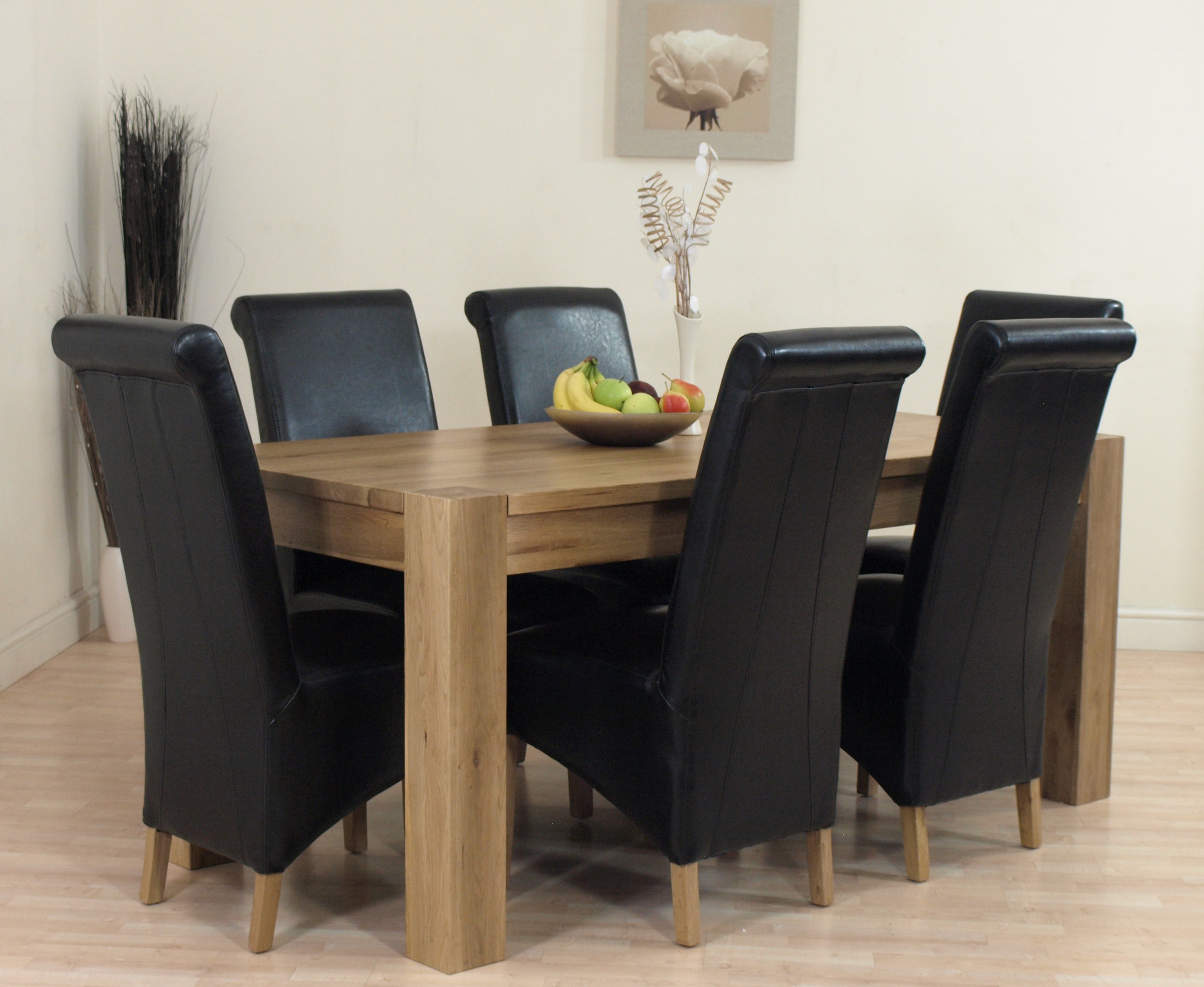 details about kuba solid oak dining table and 6 black leather chairs