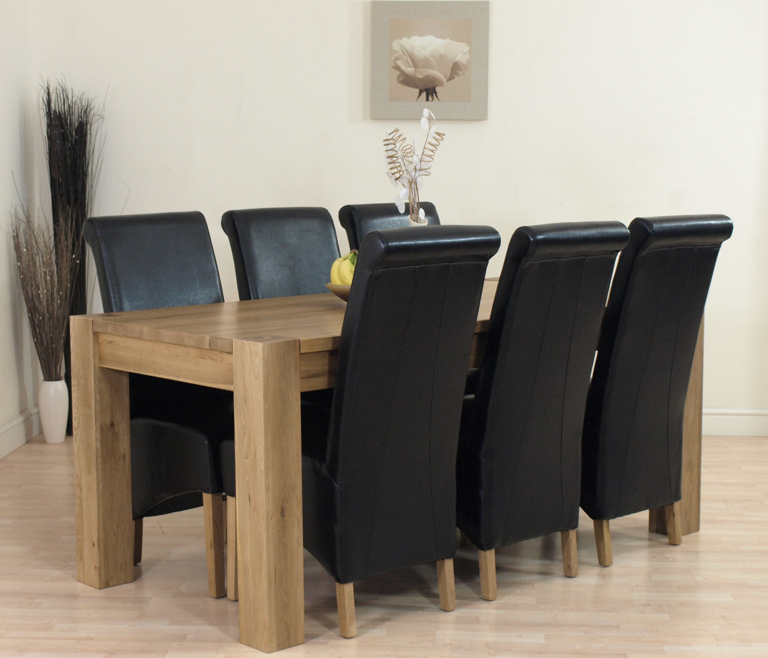 KUBA SOLID OAK DINING TABLE AND 6 BLACK LEATHER CHAIRS EBay. Full resolution  image, nominally Width 2913 Height 2496 pixels, image with #826849.