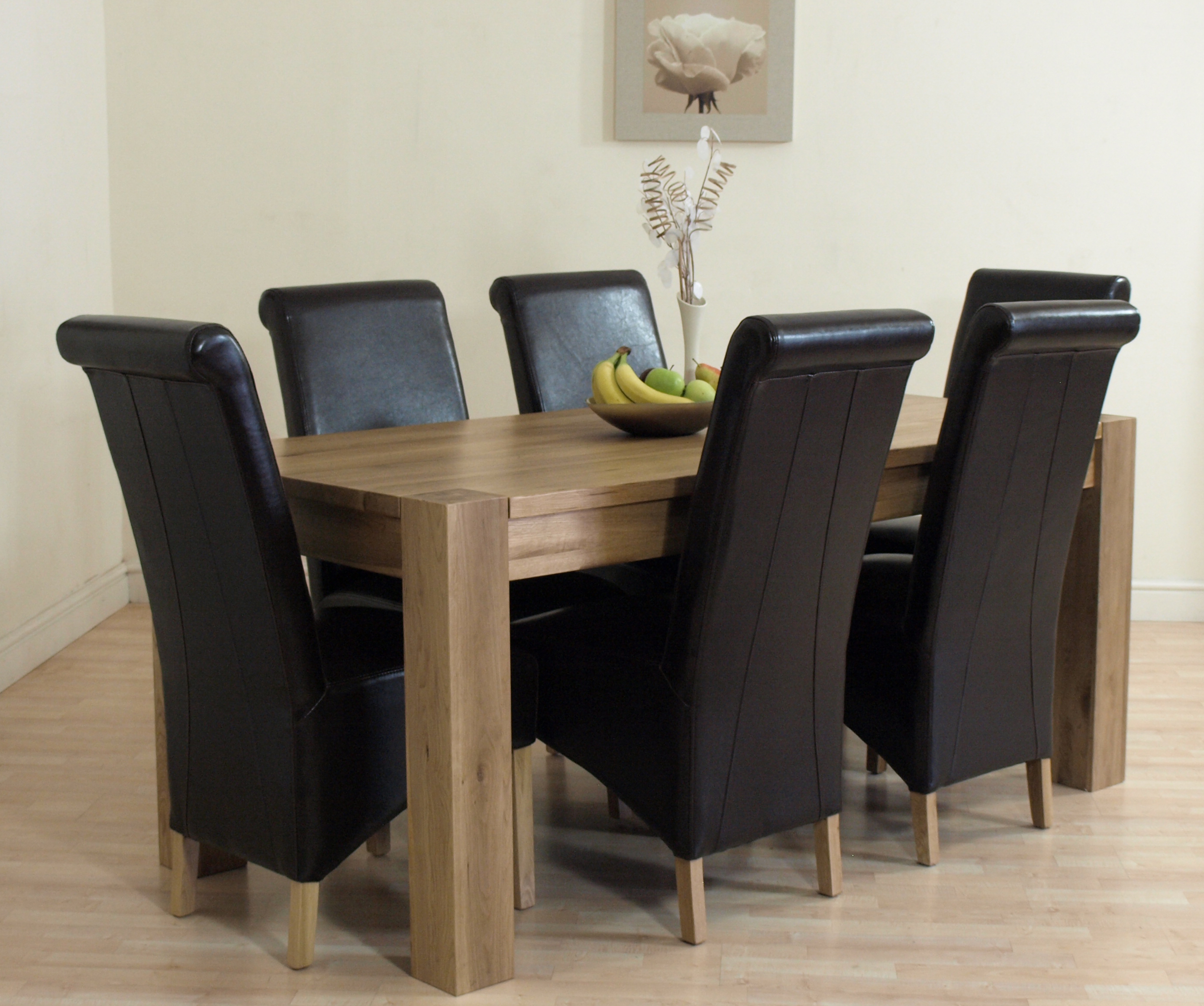 details about kuba solid oak dining table and 6 brown leather chairs
