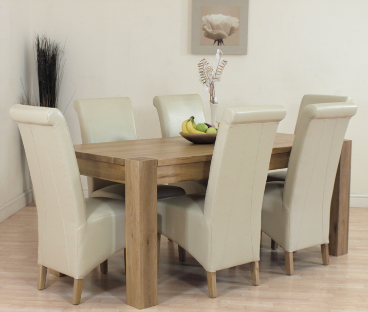 KUBA SOLID OAK DINING TABLE AND 6 IVORY LEATHER CHAIRS eBay : Kubacream6L1 from ebay.co.uk size 716 x 607 jpeg 283kB