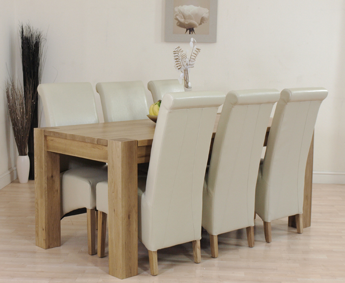 details about kuba solid oak dining table and 6 ivory leather chairs