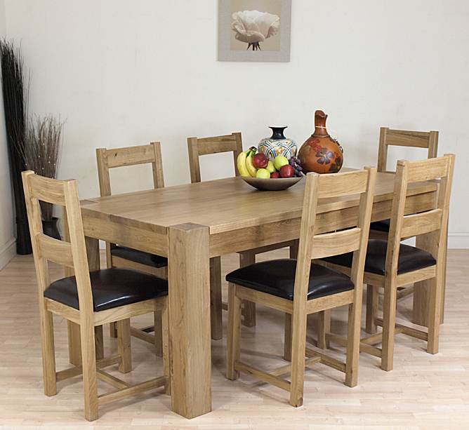 details about kuba solid oak dining table and 6 oak chairs furniture