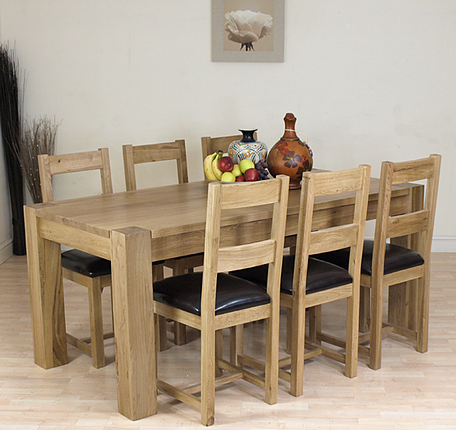 KUBA SOLID OAK DINING TABLE AND 6 OAK CHAIRS FURNITURE EBay
