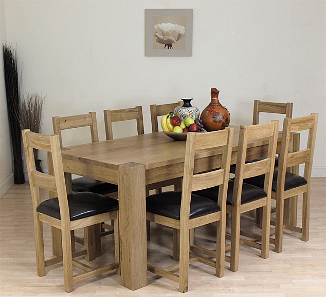 KUBA SOLID OAK DINING TABLE AND 8 OAK CHAIRS FURNITURE eBay : kuba8oakchairs1a from ebay.co.uk size 634 x 579 jpeg 359kB