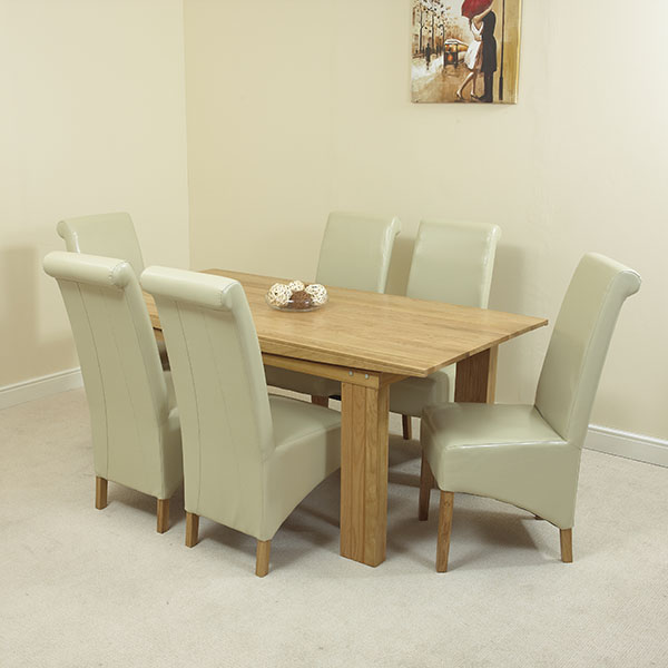 MILAN SOLID OAK DINING TABLE AND 6 IVORY LEATHER CHAIRS eBay : milan20ivory20620b from www.ebay.co.uk size 600 x 600 jpeg 58kB