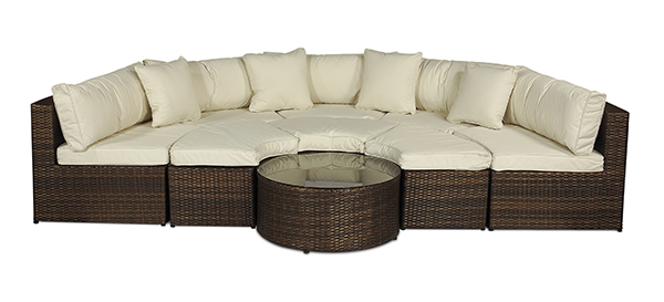 monaco modular outdoor rattan patio garden furniture sofa set with large parasol ebay. Black Bedroom Furniture Sets. Home Design Ideas