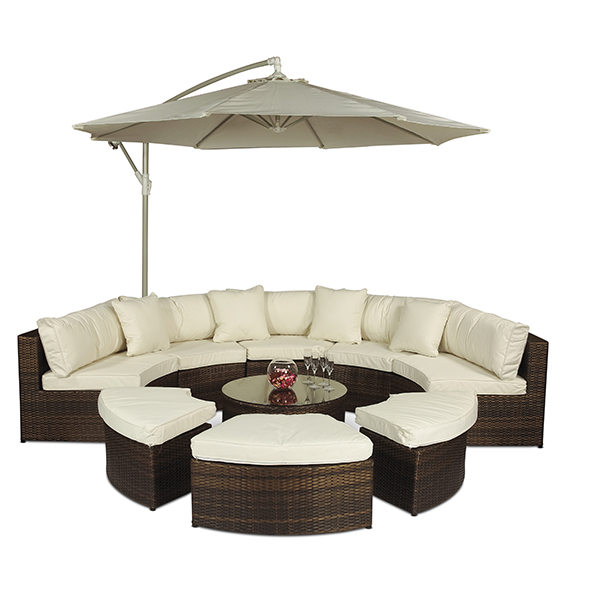 MONACO MODULAR OUTDOOR RATTAN PATIO GARDEN FURNITURE SOFA SET WITH LARGE PARA