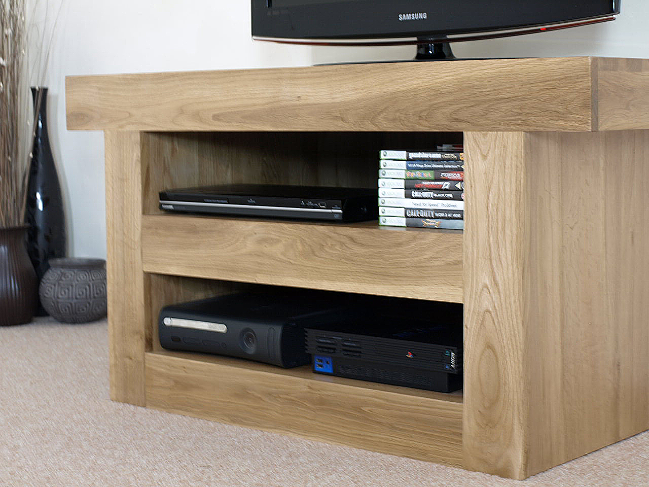 Neo Chunky Solid Oak Tv Cabinet Stand Entertainment Unit
