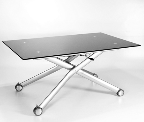 Nero Height Adjustable Glass Coffee Dining Table Black Ebay
