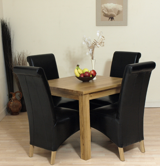 Details About OSLO SOLID OAK DINING TABLE AND 4 BLACK LEATHER CHAIRS