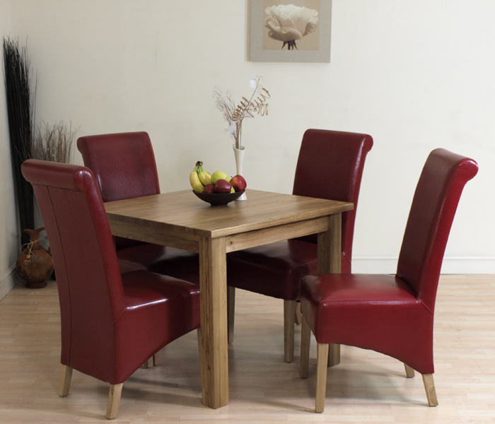 OSLO SOLID OAK DINING TABLE 4 RED LEATHER CHAIRS NEW EBay