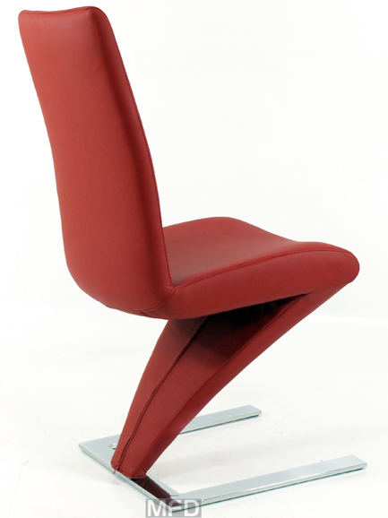 8 X DESIGNER RED FAUX LEATHER Z DINING CHAIRS NEW EBay