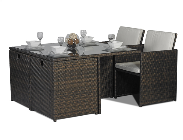 SAVANNAH 4 / 8 SEAT CUBE RATTAN GARDEN FURNITURE SET
