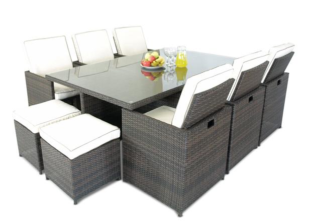 Savannah 13 piece rattan garden furniture set outdoor for 13 piece dining table set