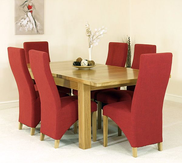 dining table and 6 red lola fabric chairs the seattle extending dining