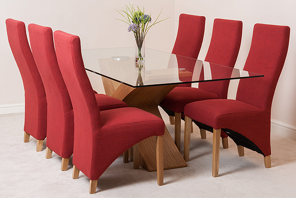 oak 200cm x 100cm glass dining table 6 lola red fabric chairs ebay