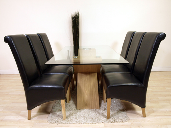 details about valencia oak glass dining table 6 black leather chairs
