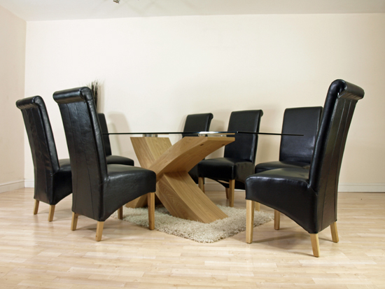details about large oak glass dining table 8 black leather chairs