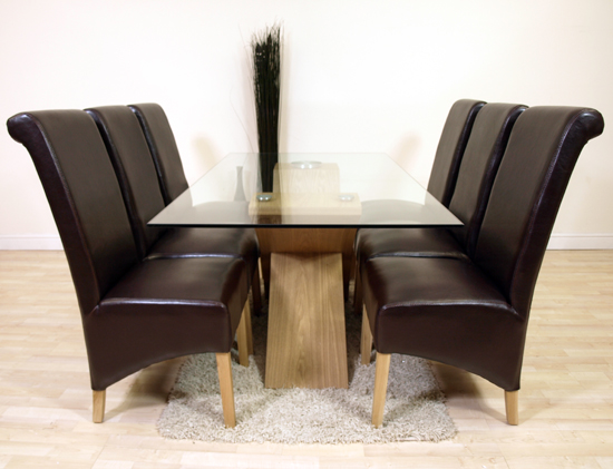 VALENCIA OAK GLASS DINING TABLE 6 BROWN LEATHER CHAIRS