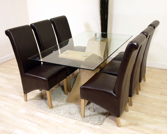 VALENCIA OAK GLASS DINING TABLE 6 BROWN LEATHER CHAIRS eBay : valenciabrown63 from ebay.co.uk size 550 x 443 jpeg 198kB