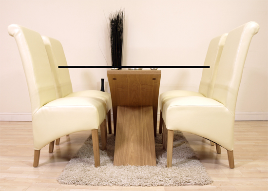 VALENCIA OAK GLASS DINING TABLE 4 IVORY LEATHER CHAIRS