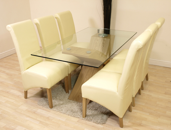 VALENCIA OAK GLASS DINING TABLE 6 IVORY LEATHER CHAIRS