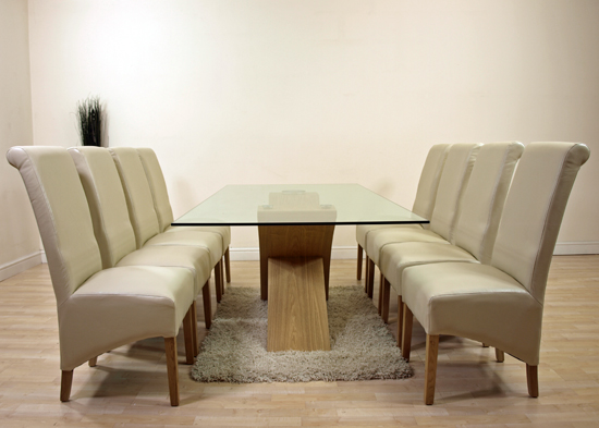 LARGE OAK GLASS DINING TABLE & 8 IVORY LEATHER CHAIRS