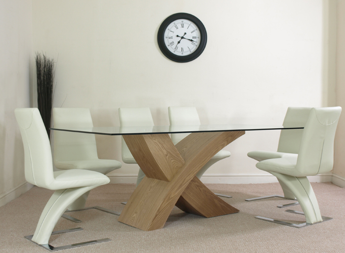 LARGE GLASS & WOOD DINING TABLE & 6 IVORY Z CHAIRS L