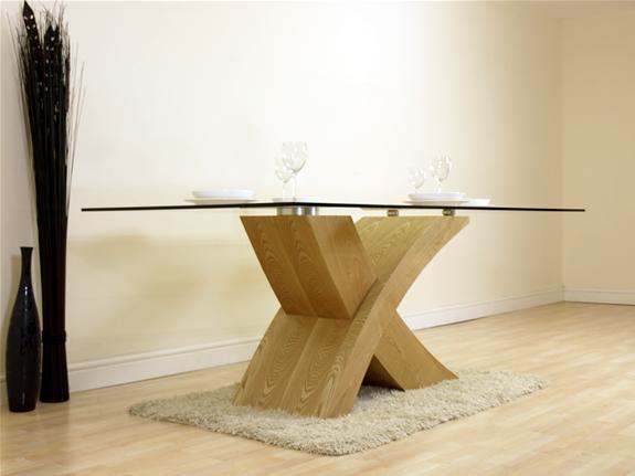 VALENCIA OAK FURNITURE GLASS & WOOD DINING ROOM TABLE