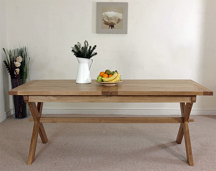 about vermont solid oak extending cross legged leg dining table