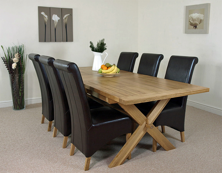 Vermont Solid OAK Extending Cross Legged Dining Table AND  : crosstable6brownL1a from ebay.com.au size 722 x 564 jpeg 321kB