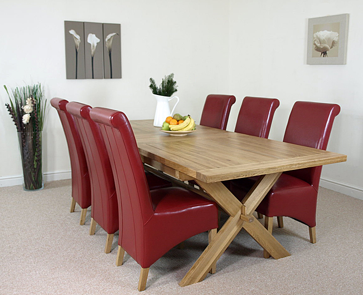 oak extending cross leg dining table and 6 red leather chairs ebay