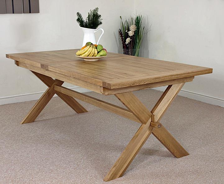 VERMONT SOLID OAK EXTENDING CROSS LEGGED DINING TABLE AND  : crosstableL3 from www.ebay.co.uk size 720 x 591 jpeg 405kB