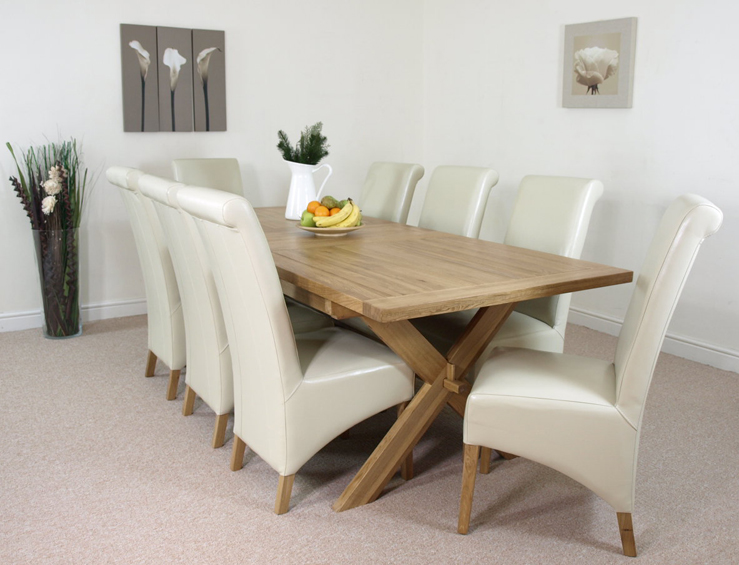 CROSS LEG SOLID OAK EXTENDING DINING TABLE 6 or 8 LEATHER  : crosstable8ivoryL1 from ebay.co.uk size 739 x 565 jpeg 251kB